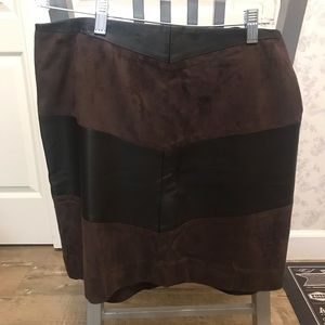 Sueded and Faux Leather Skirt